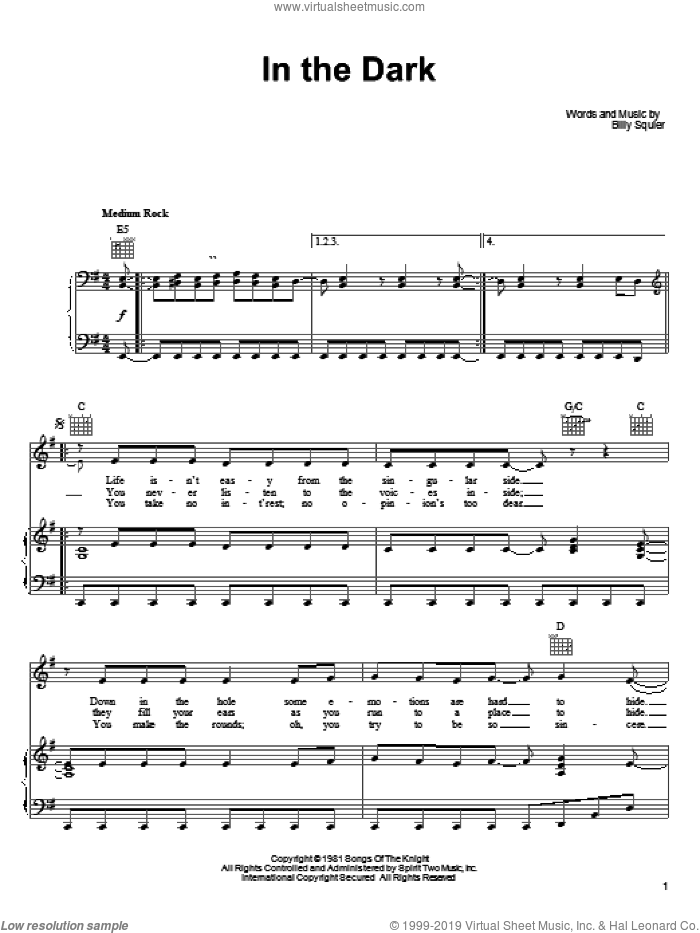 In The Dark sheet music for voice, piano or guitar by Billy Squier. Score Image Preview.