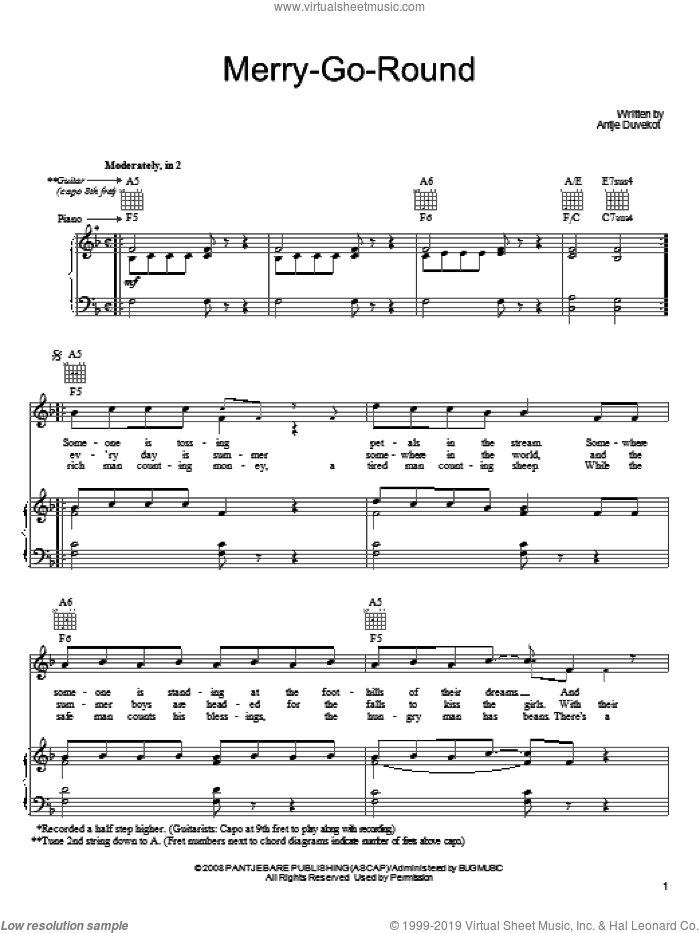Merry-Go-Round sheet music for voice, piano or guitar by Antje Duvekot, intermediate voice, piano or guitar. Score Image Preview.