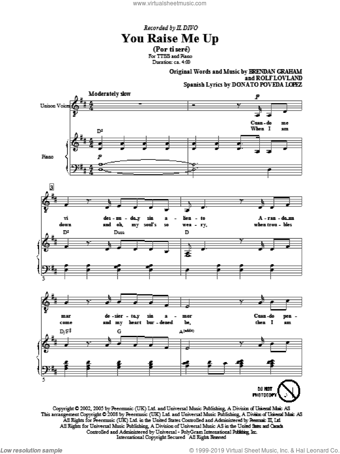 You Raise Me Up sheet music for choir (TTBB: tenor, bass) by Il Divo, Brendan Graham and Rolf Lovland, intermediate. Score Image Preview.