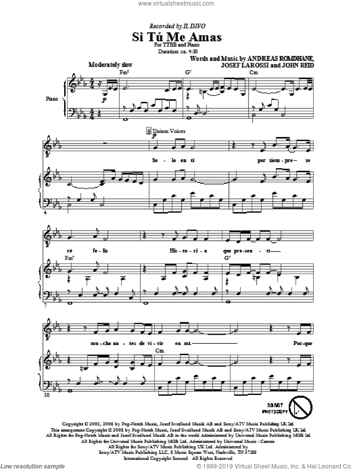 Si Tu Me Amas sheet music for choir (TTBB: tenor, bass) by Il Divo, Andreas Romdhane, John Reid and Josef Larossi, intermediate skill level