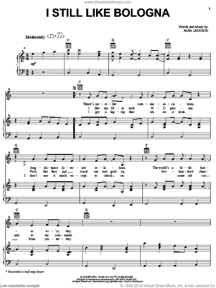 I Still Like Bologna sheet music for voice, piano or guitar by Alan Jackson, intermediate skill level