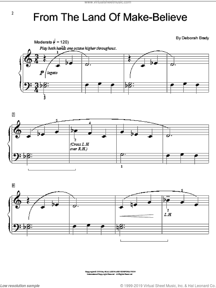 From The Land Of Make-Believe sheet music for piano solo (elementary) by Deborah Brady and Miscellaneous, beginner piano (elementary)