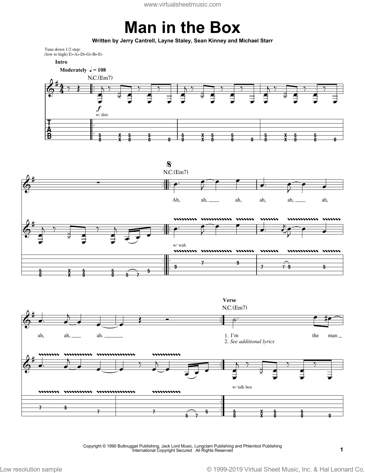 Man In The Box sheet music for guitar (tablature, play-along) by Sean Kinney, Alice In Chains, Jerry Cantrell and Layne Staley