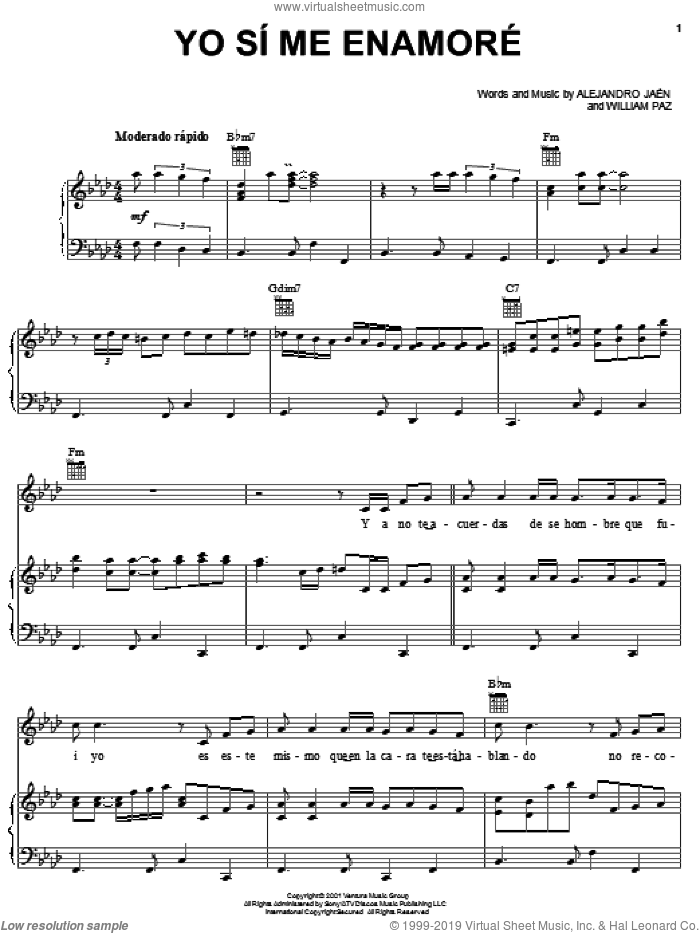 Yo Si Me Enamore sheet music for voice, piano or guitar by Huey Dunbar, Alejandro Jaen and William Paz, intermediate skill level