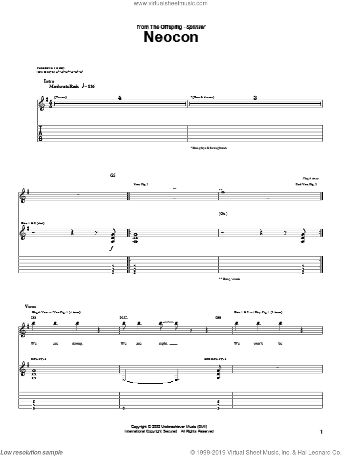 Neocon sheet music for guitar (tablature) by The Offspring, intermediate. Score Image Preview.