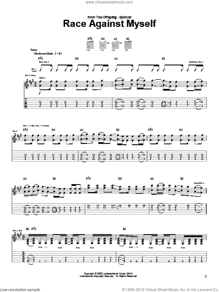 Race Against Myself sheet music for guitar (tablature) by The Offspring