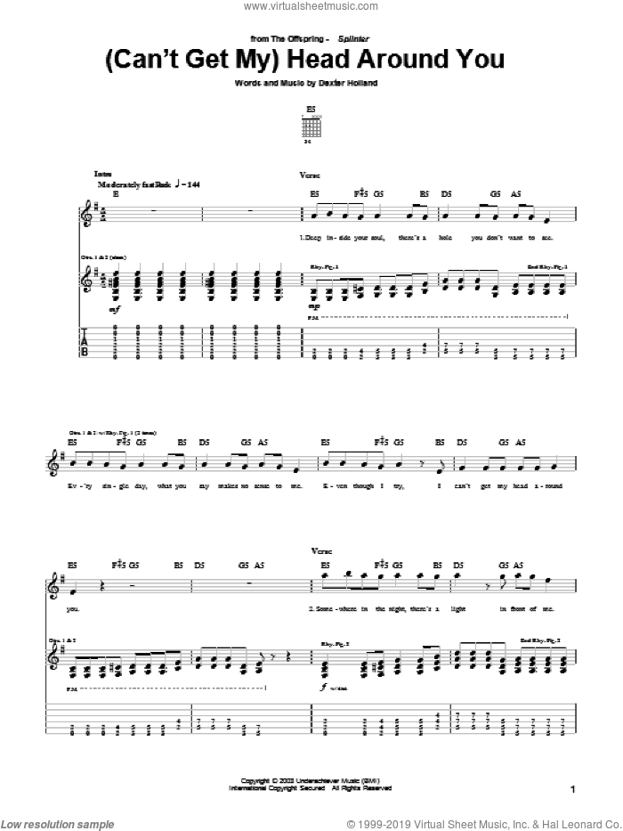 (Can't Get My) Head Around You sheet music for guitar (tablature) by Dexter Holland