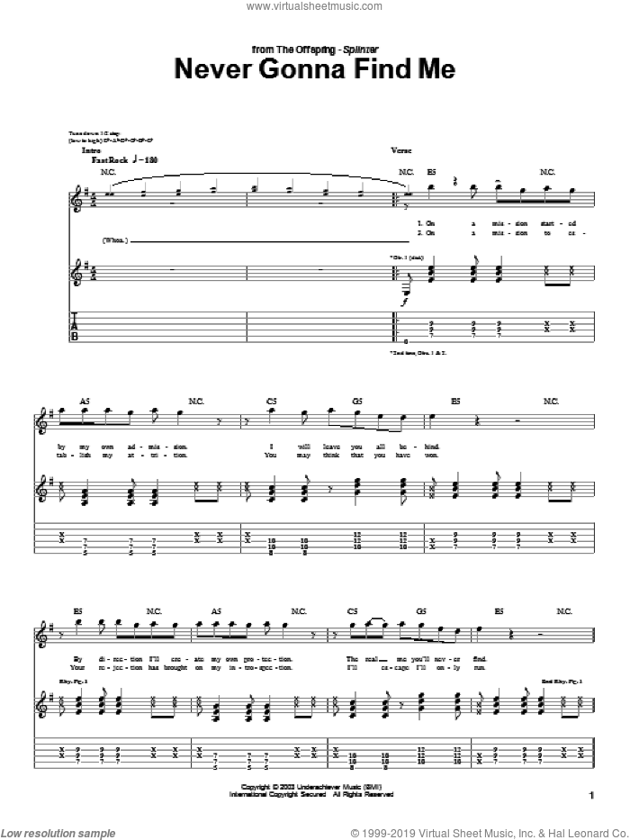 Never Gonna Find Me sheet music for guitar (tablature) by The Offspring, intermediate. Score Image Preview.
