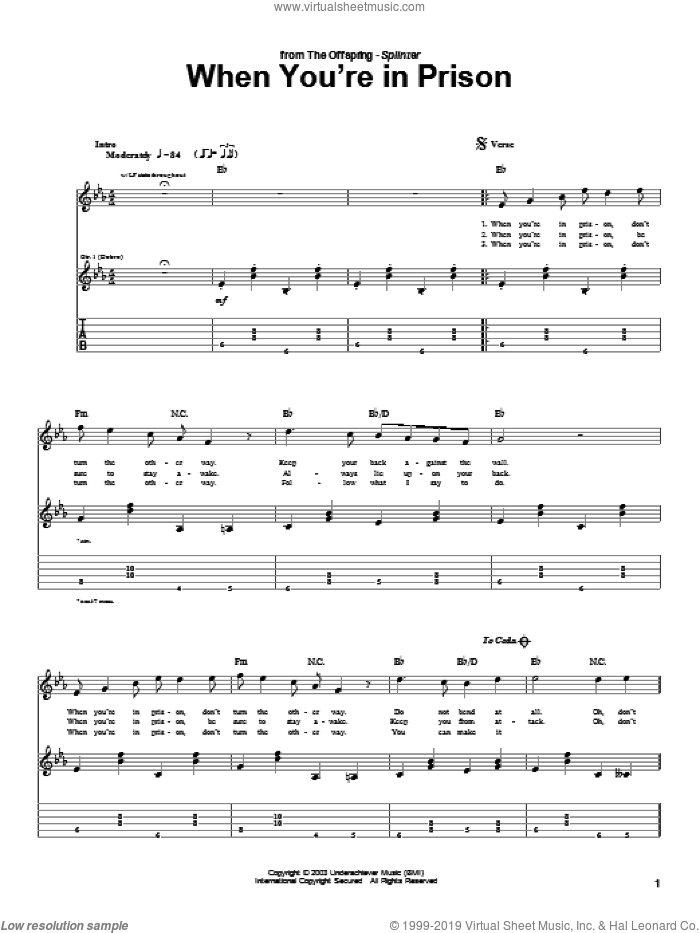 When You're In Prison sheet music for guitar (tablature) by The Offspring