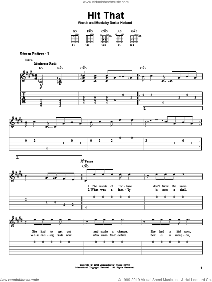 Hit That sheet music for guitar solo (easy tablature) by Dexter Holland and The Offspring. Score Image Preview.