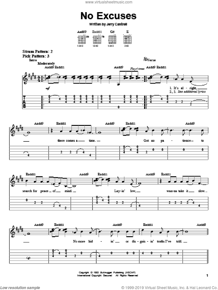 No Excuses sheet music for guitar solo (easy tablature) by Alice In Chains and Jerry Cantrell, easy guitar (easy tablature)