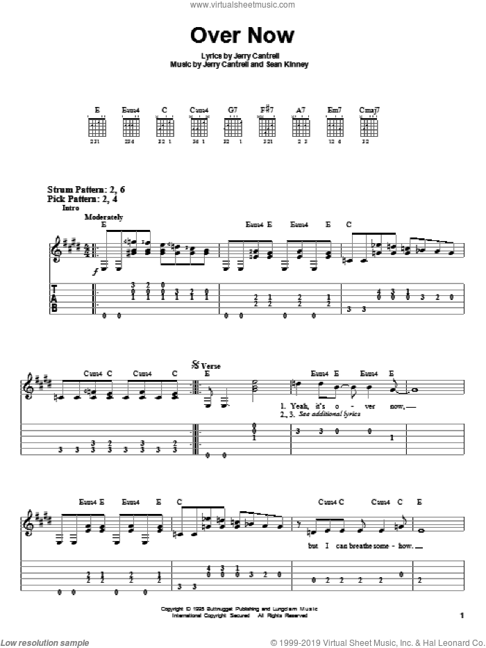 Over Now sheet music for guitar solo (easy tablature) by Alice In Chains, Jerry Cantrell and Sean Kinney, easy guitar (easy tablature)