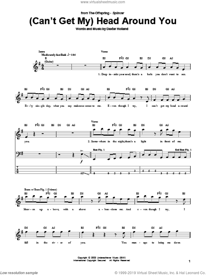 (Can't Get My) Head Around You sheet music for bass (tablature) (bass guitar) by The Offspring and Dexter Holland, intermediate skill level