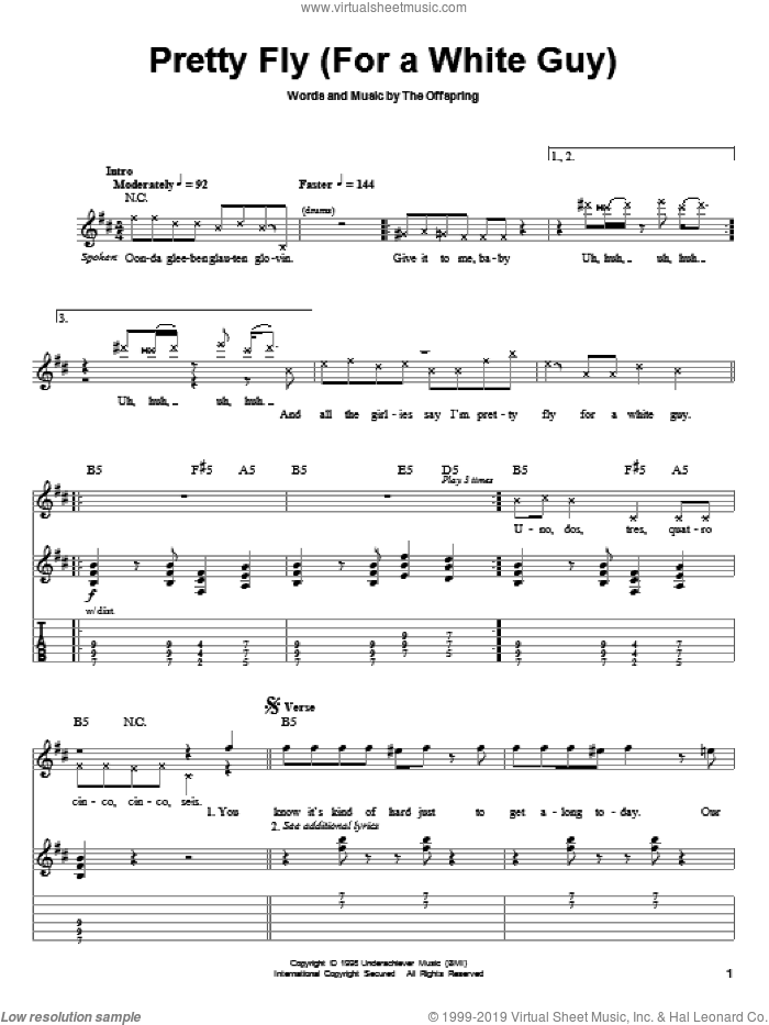 Pretty Fly (For A White Guy) sheet music for guitar (tablature, play-along) by The Offspring, intermediate guitar (tablature, play-along). Score Image Preview.