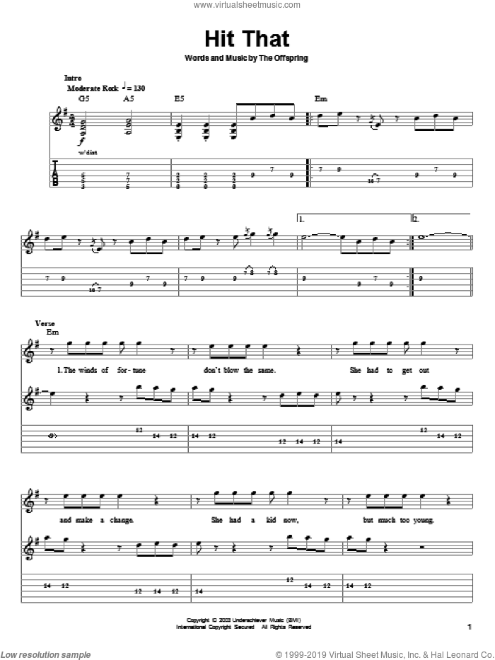 Hit That sheet music for guitar (tablature, play-along) by Dexter Holland and The Offspring. Score Image Preview.