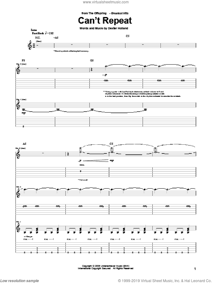 Can't Repeat sheet music for guitar (tablature) by Dexter Holland