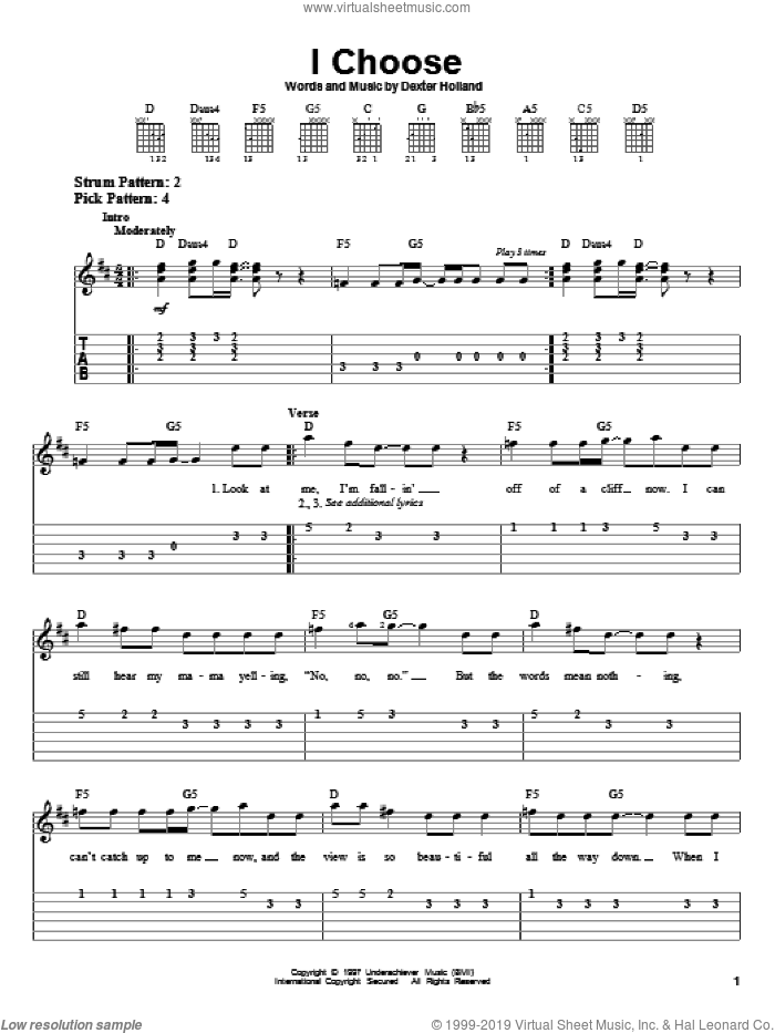 I Choose sheet music for guitar solo (easy tablature) by The Offspring, easy guitar (easy tablature)