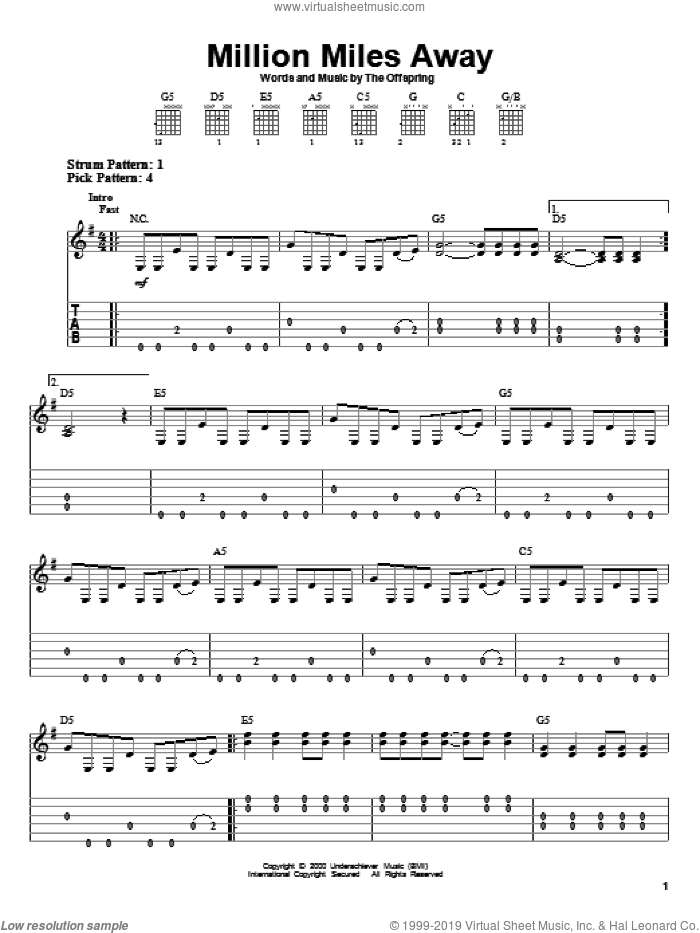 Million Miles Away sheet music for guitar solo (easy tablature) by The Offspring. Score Image Preview.