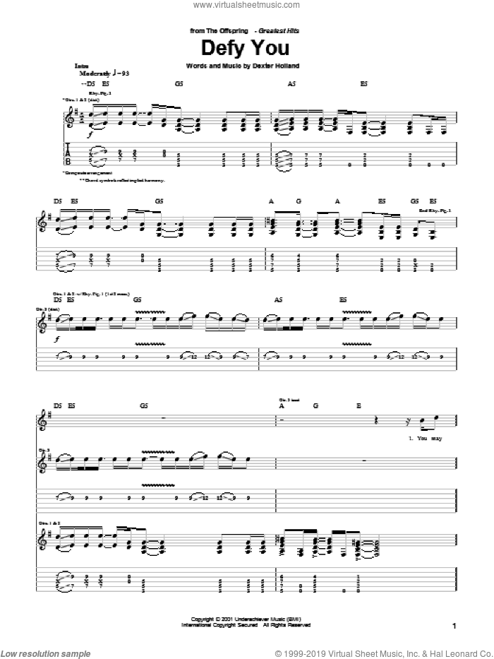 Defy You sheet music for guitar (tablature) by Dexter Holland and The Offspring. Score Image Preview.