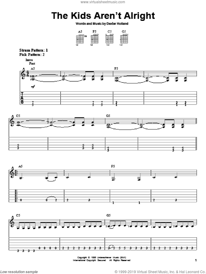 The Kids Aren't Alright sheet music for guitar solo (easy tablature) by The Offspring and Dexter Holland, easy guitar (easy tablature)