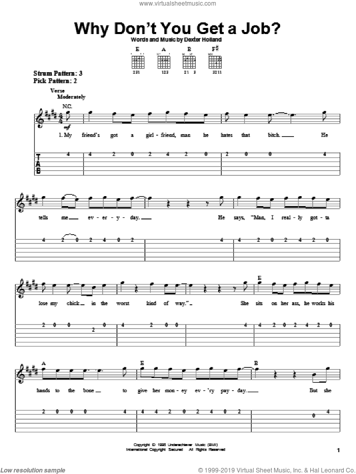 Why Don't You Get A Job? sheet music for guitar solo (easy tablature) by Dexter Holland and The Offspring. Score Image Preview.