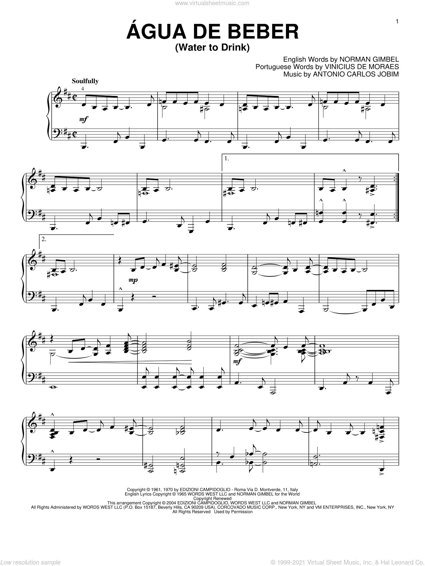 Agua De Beber (Water To Drink) sheet music for piano solo by Antonio Carlos Jobim, Vinicius de Moraes and Norman Gimbel, intermediate skill level