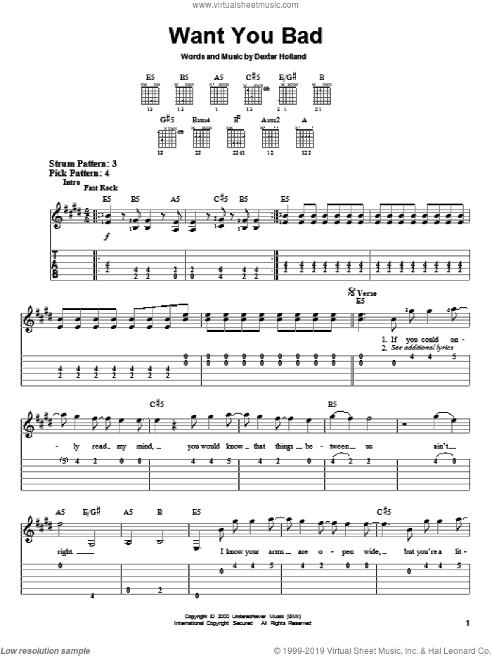 Want You Bad sheet music for guitar solo (easy tablature) by The Offspring and Dexter Holland, easy guitar (easy tablature)