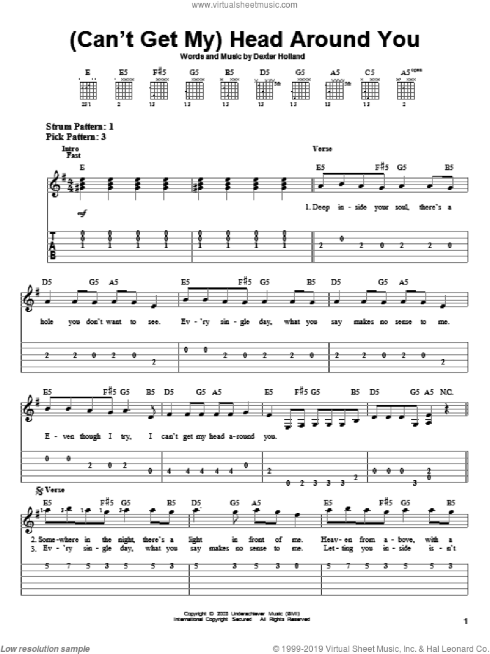 (Can't Get My) Head Around You sheet music for guitar solo (easy tablature) by Dexter Holland and The Offspring