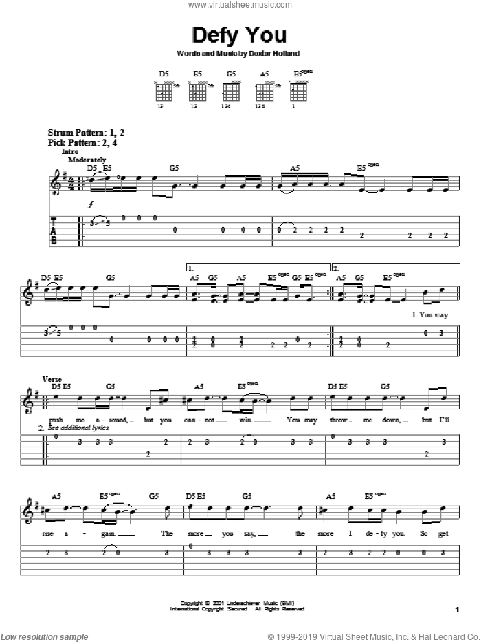 Defy You sheet music for guitar solo (easy tablature) by The Offspring. Score Image Preview.