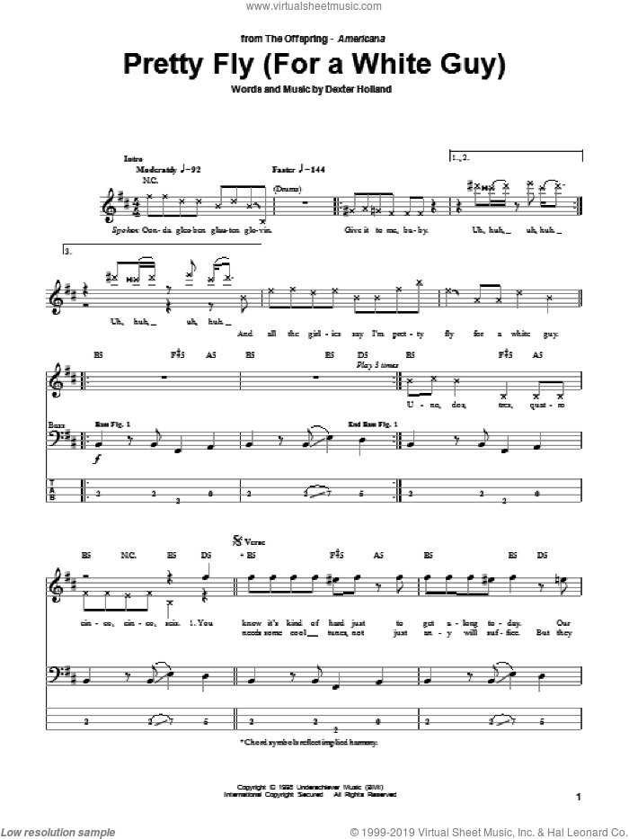 Pretty Fly (For A White Guy) sheet music for bass (tablature) (bass guitar) by Dexter Holland and The Offspring. Score Image Preview.