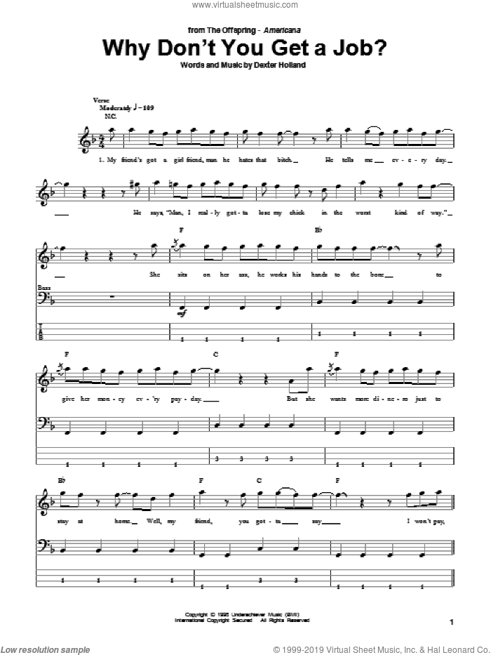 Why Don't You Get A Job? sheet music for bass (tablature) (bass guitar) by The Offspring and Dexter Holland, intermediate skill level