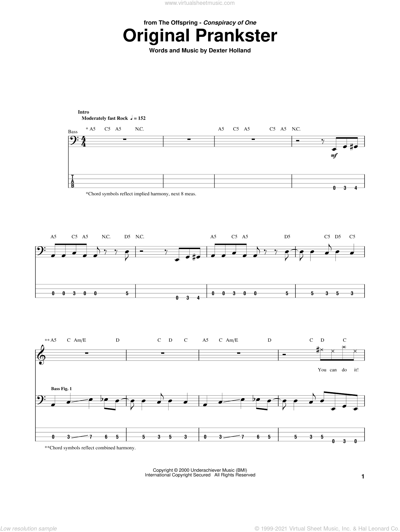 Original Prankster sheet music for bass (tablature) (bass guitar) by Dexter Holland and The Offspring. Score Image Preview.