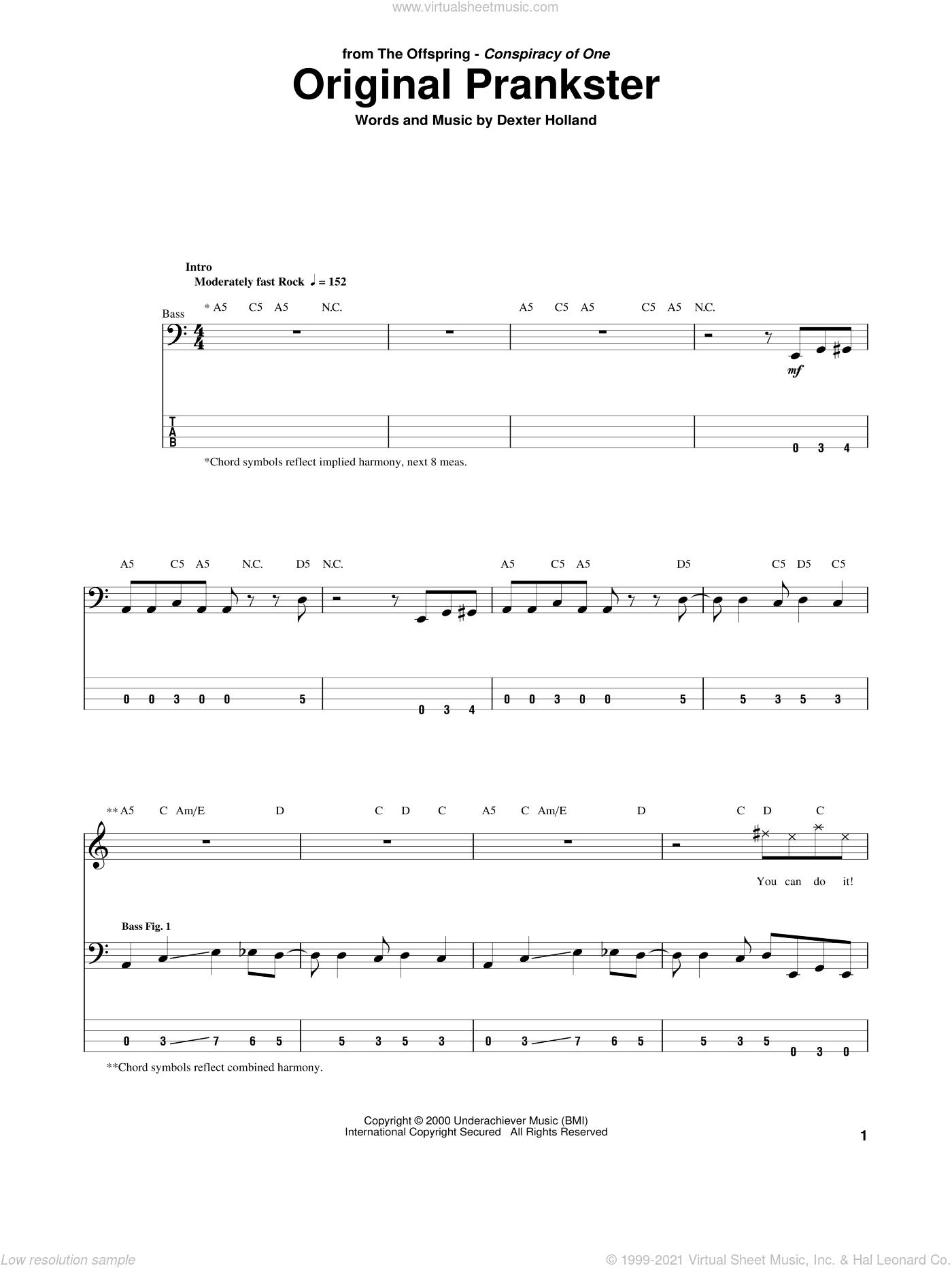 Original Prankster sheet music for bass (tablature) (bass guitar) by The Offspring and Dexter Holland, intermediate skill level