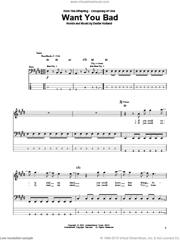 Want You Bad sheet music for bass (tablature) (bass guitar) by The Offspring and Dexter Holland, intermediate skill level