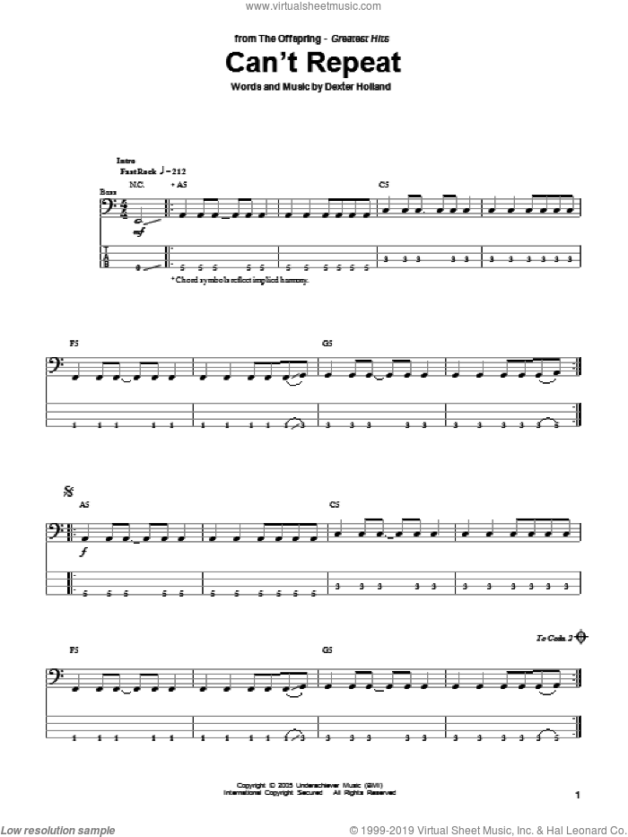 Can't Repeat sheet music for bass (tablature) (bass guitar) by The Offspring and Dexter Holland, intermediate. Score Image Preview.