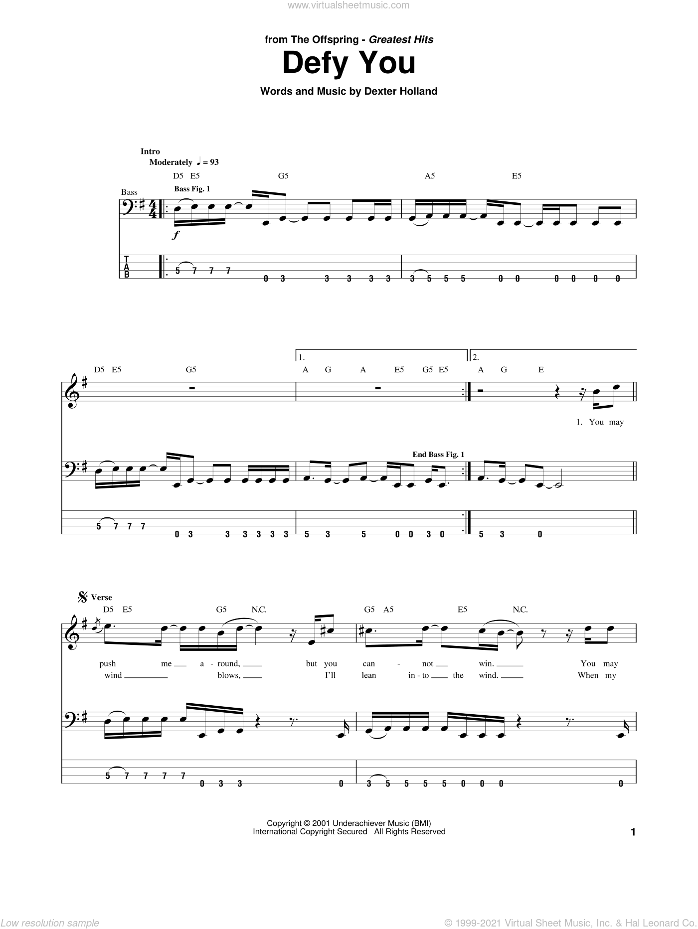 Defy You sheet music for bass (tablature) (bass guitar) by The Offspring and Dexter Holland, intermediate