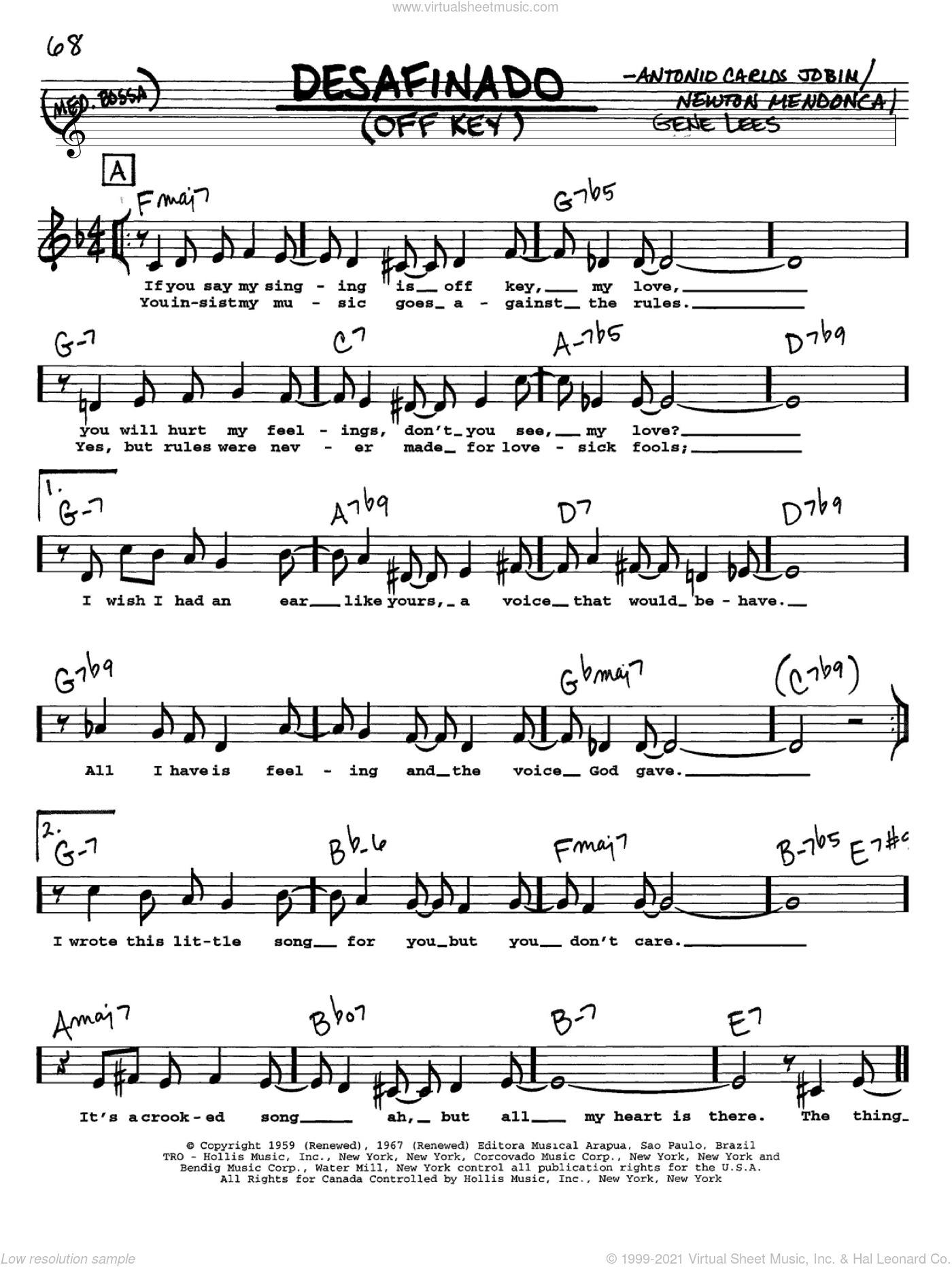 Desafinado (Off Key) sheet music for voice and other instruments (Vocal Volume 1) by Antonio Carlos Jobim, intermediate. Score Image Preview.
