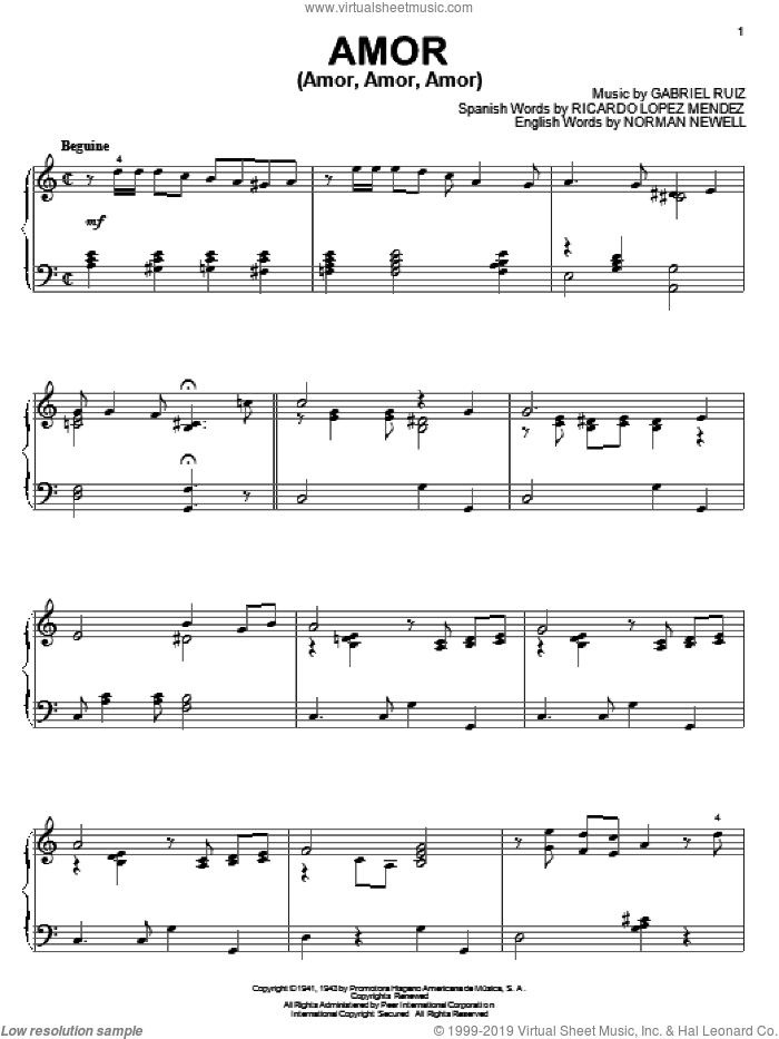 Amor (Amor, Amor, Amor) sheet music for piano solo by Ricardo Lopez Mendez