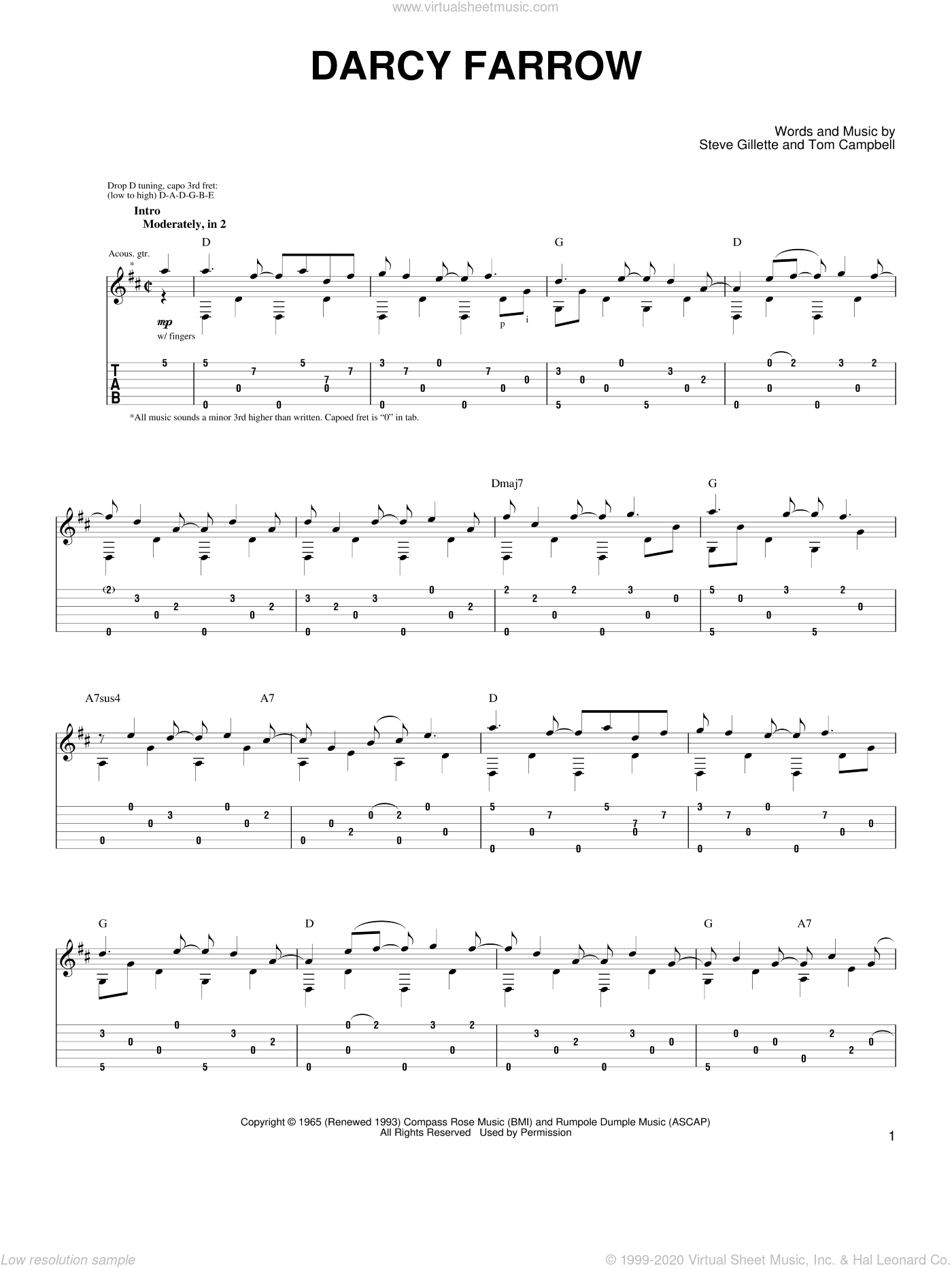 Darcy Farrow sheet music for guitar (tablature) by Thomas Campbell and John Denver. Score Image Preview.