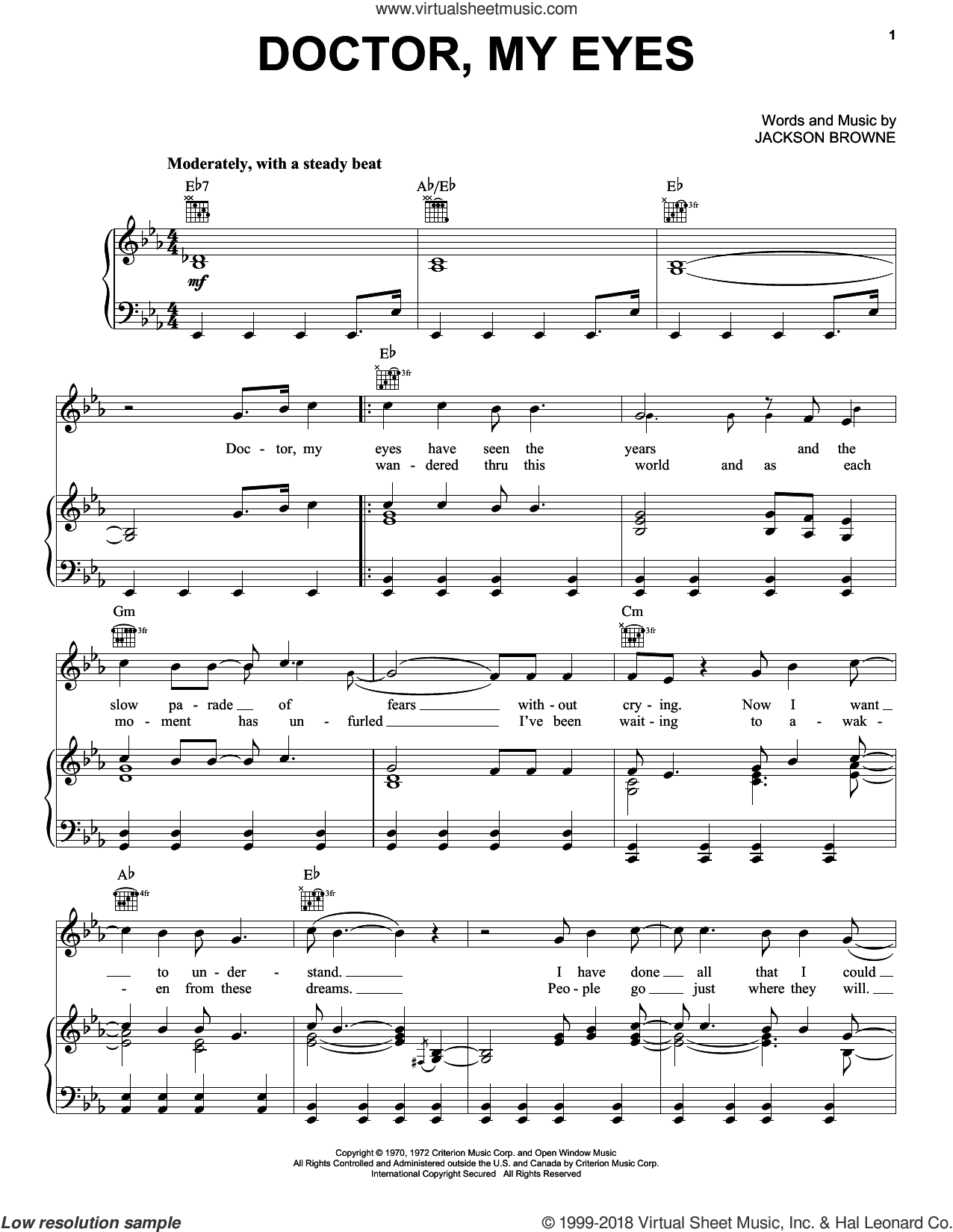 Doctor, My Eyes sheet music for voice, piano or guitar by Jackson Browne and The Jackson 5. Score Image Preview.