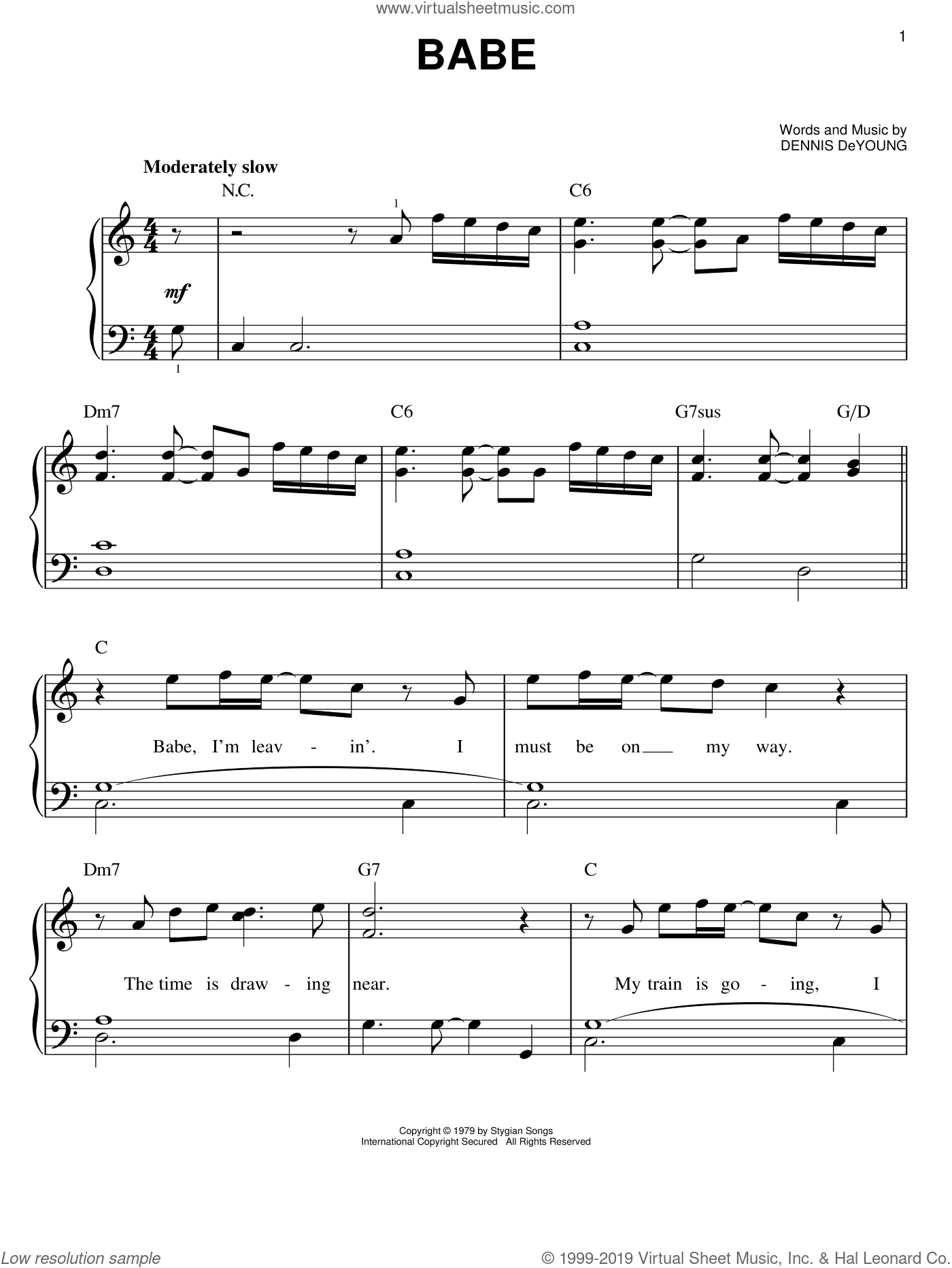 Babe sheet music for piano solo by Styx and Dennis DeYoung, easy skill level