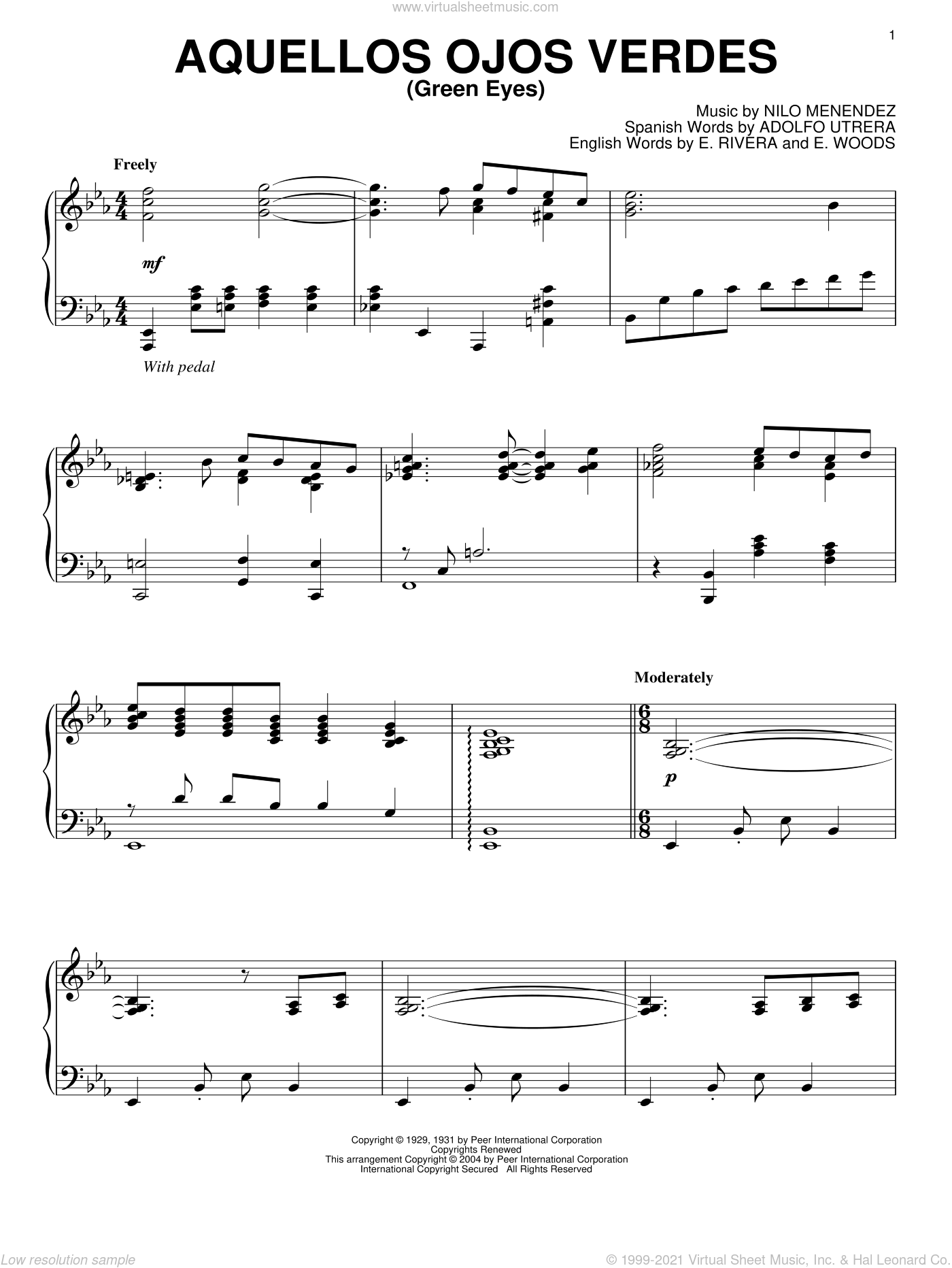 Aquellos Ojos Verdes (Green Eyes) sheet music for piano solo by Nilo Menendez, Adolfo Utrera, E. Rivera and E. Woods, intermediate skill level