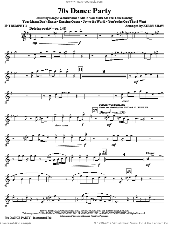 70s Dance Party (Medley) (complete set of parts) sheet music for orchestra/band by Kirby Shaw, intermediate skill level