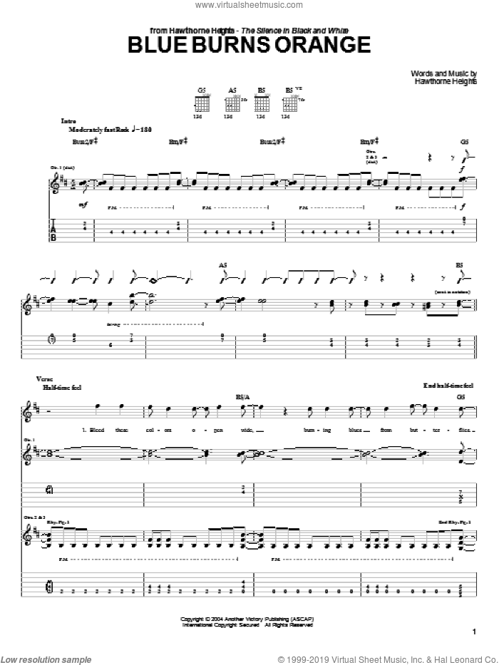 Blue Burns Orange sheet music for guitar (tablature) by Hawthorne Heights. Score Image Preview.
