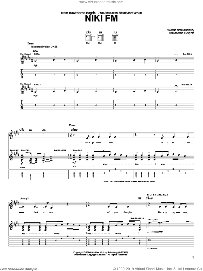 Niki FM sheet music for guitar (tablature) by Hawthorne Heights, intermediate. Score Image Preview.