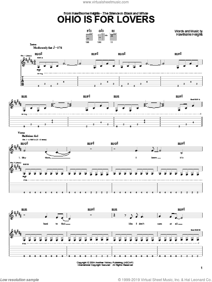 Ohio Is For Lovers sheet music for guitar (tablature) by Hawthorne Heights, intermediate skill level