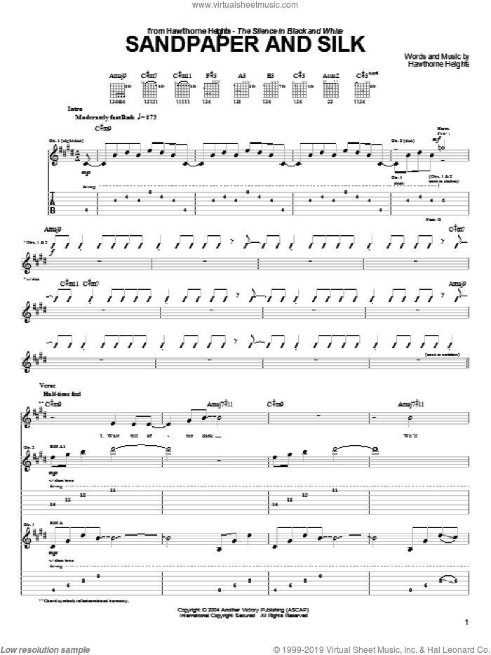 Sandpaper And Silk sheet music for guitar (tablature) by Hawthorne Heights