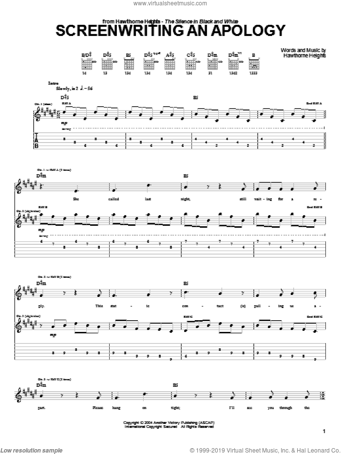 Screenwriting An Apology sheet music for guitar (tablature) by Hawthorne Heights. Score Image Preview.