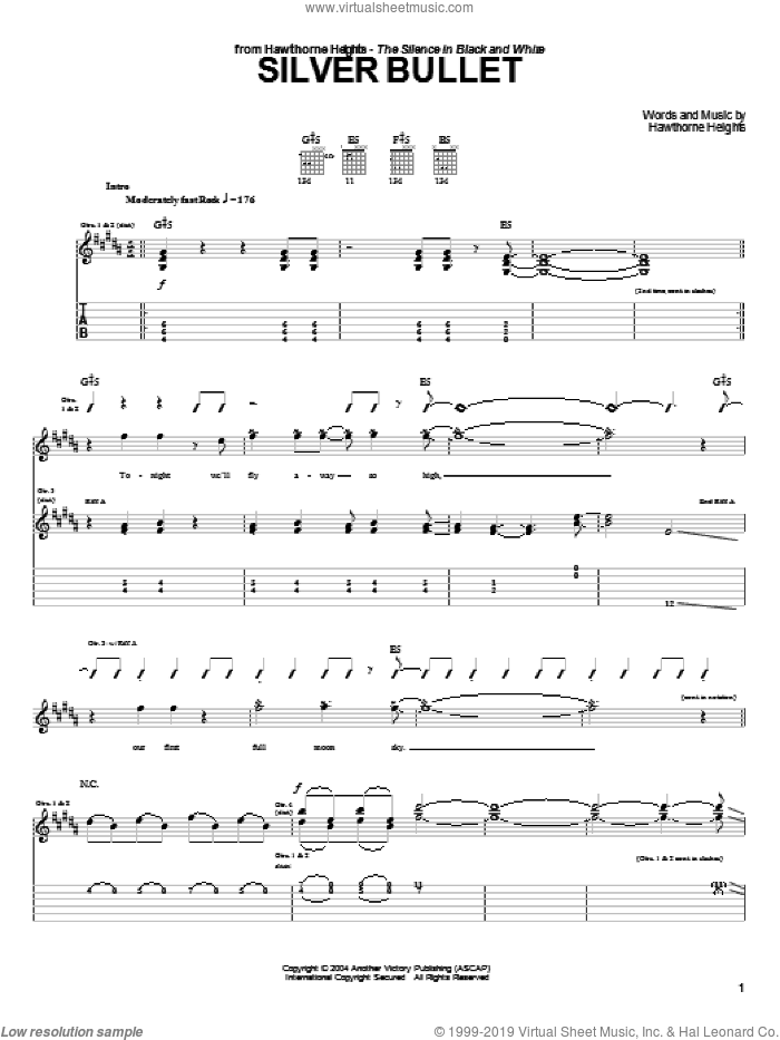Silver Bullet sheet music for guitar (tablature) by Hawthorne Heights. Score Image Preview.