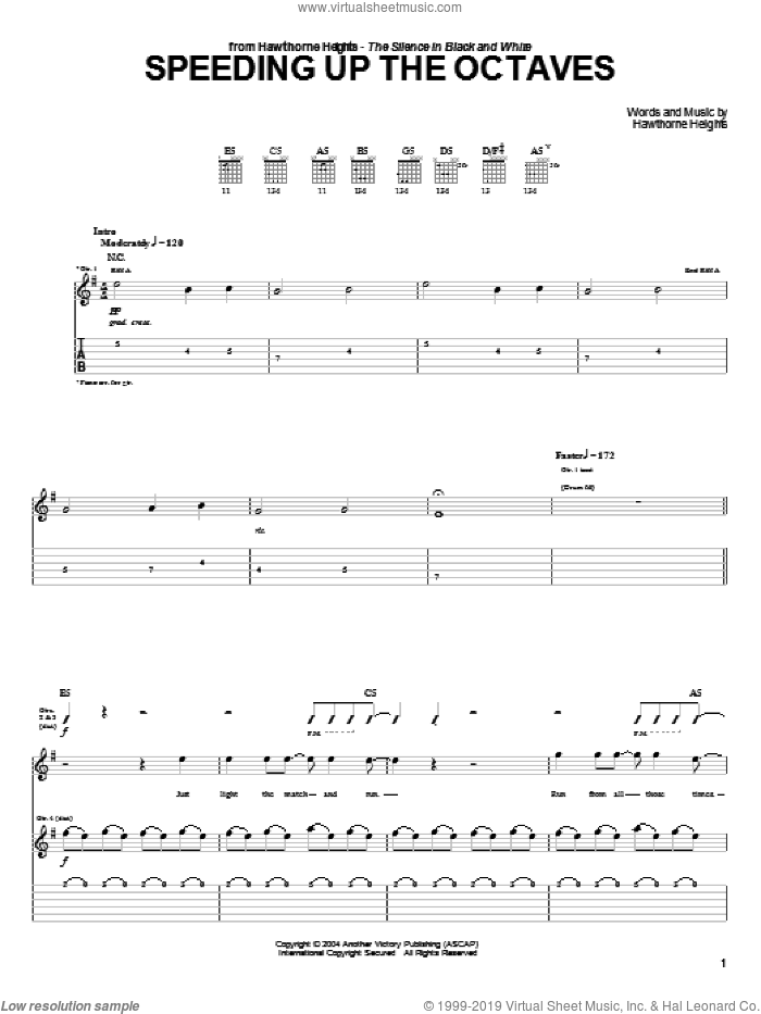 Speeding Up The Octaves sheet music for guitar (tablature) by Hawthorne Heights. Score Image Preview.